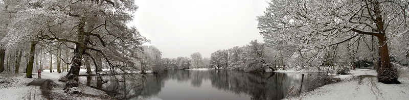 A 3 shot photomerge panorama of Boultham Park in winter