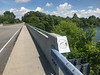 No diving sign on bridge between Dickinson Island and Heriot Island 2019 June 25