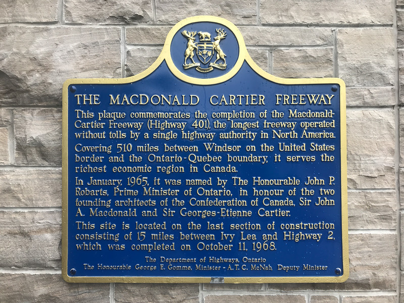 Plaque commemorating the completion of Highway 401 at Mallorytown On Route