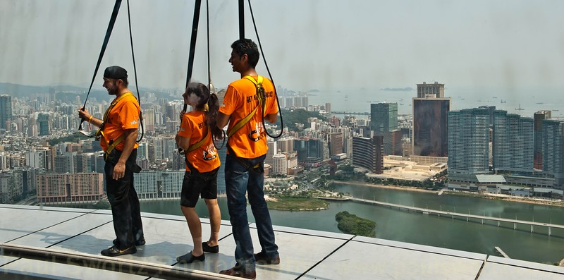 Walking on the rim of the Macau Tower (again, I passed).