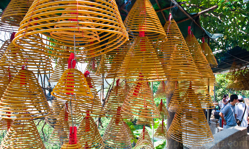 Cones of incense burning at the A-Ma Temple