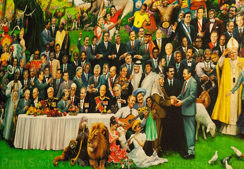 Detail from a bizarre painting at the lobby of the Macau Tower, celebrating the 1999 return of Macau to the Chinese from Portugal. Please note Saddam Hussein and other characters ...