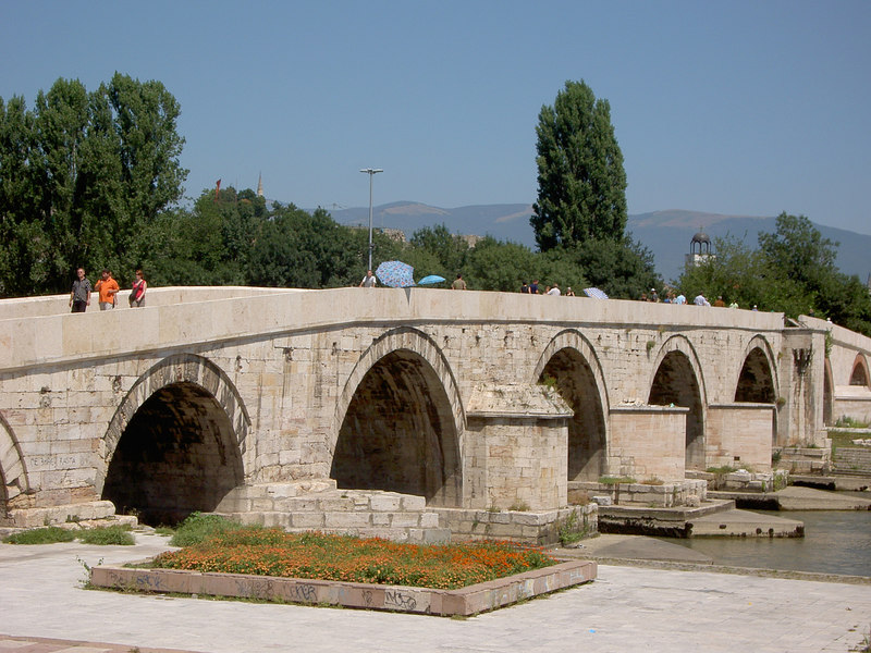 Kamen Most, the stone bridge dividing the old and new town in Skopje.