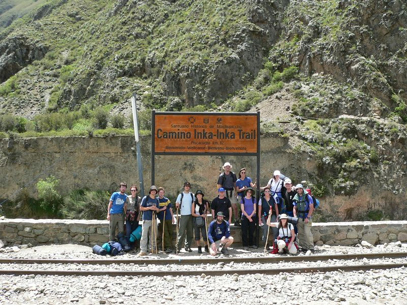 Here we are at the beginning of the Inca Trail. Our trekking group consisted of 2 Irish, 5 Brits, 5 Auzzies, ourselves, and another American couple. It was a great group.