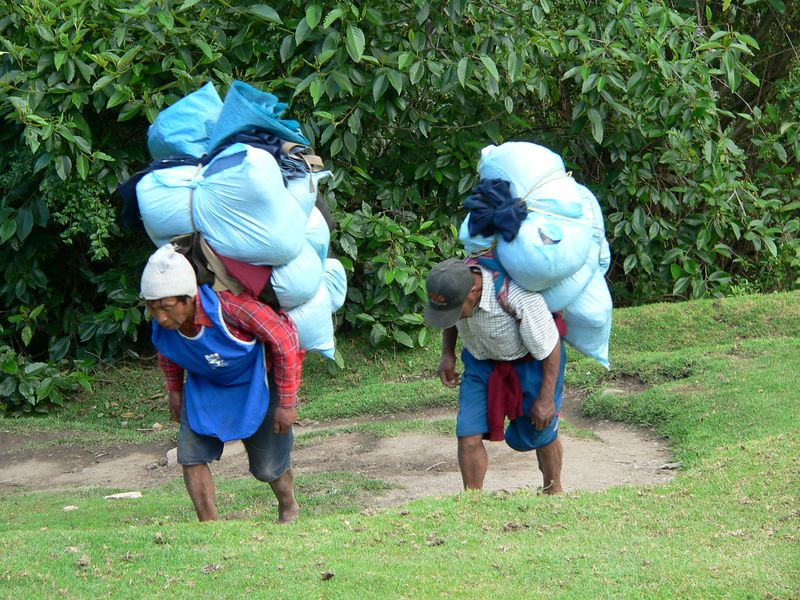 Here are some porters from another group. We were told the larger packs were often the lightest. Yikes!