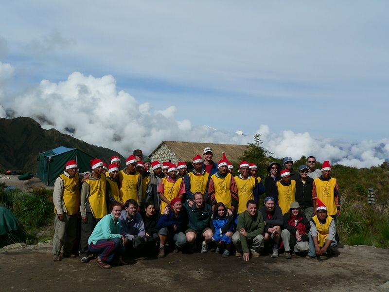 Here's our group: 16 trekkers, 23 porters, and 1 cook. We also had 2 guides, who were taking the photos.
