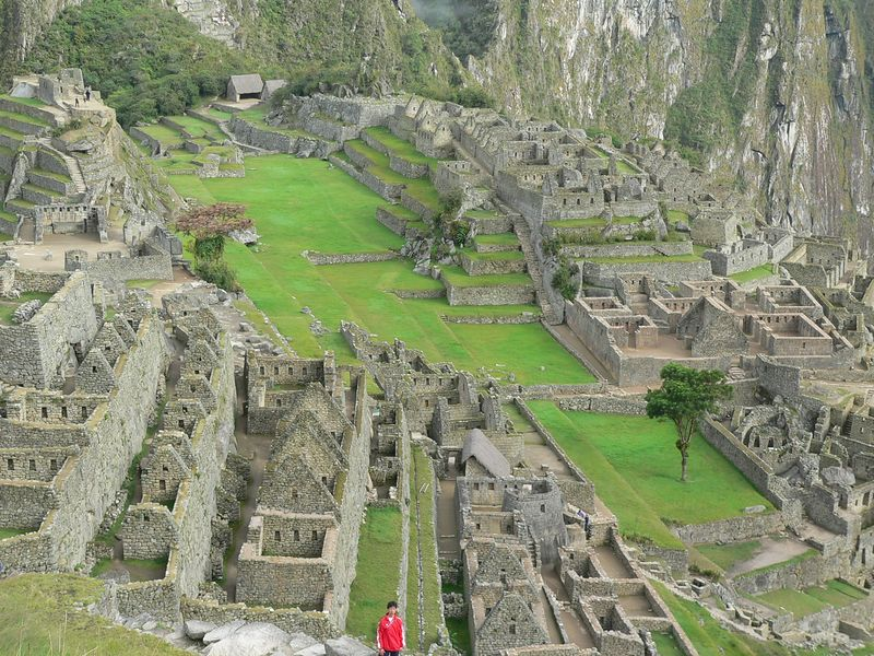 The central plaza. Machu Picchu was a sacred pilgrimage site, especially during festivals at equinox and other significant times of the year. This plaza was a fairground, sports arena and stadium.