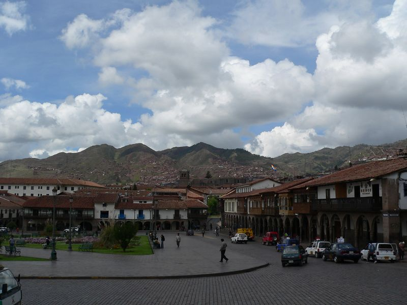 Plaza de Armas, Cuszco. The is the center of the touristy part of the city. The plaza is roughly where the central plaza of the original Inca city was.