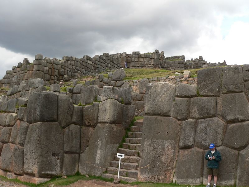 """Sacsayhuaman (pronounced like """"sexy woman"""") was mostly pillaged for stone by Pizarro's Spaniards who used them to build colonial Cuszco on top of the original Inca city of Q'osquo. Q'osquo was the center of the Incan empire. All that is left of this ruin are the stones too big for the Spaniards to move."""