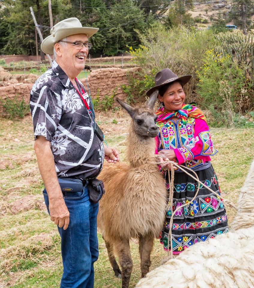 Ray with a Llama and Peruvian Vendor