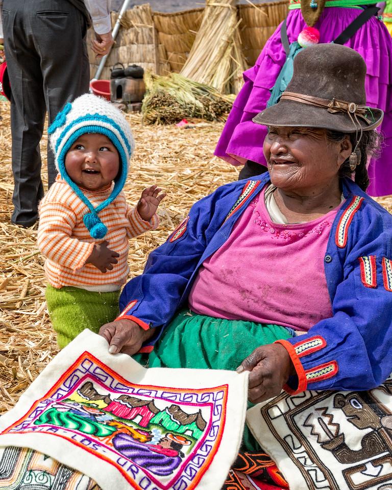 Grandchild and grandma show us their weavings