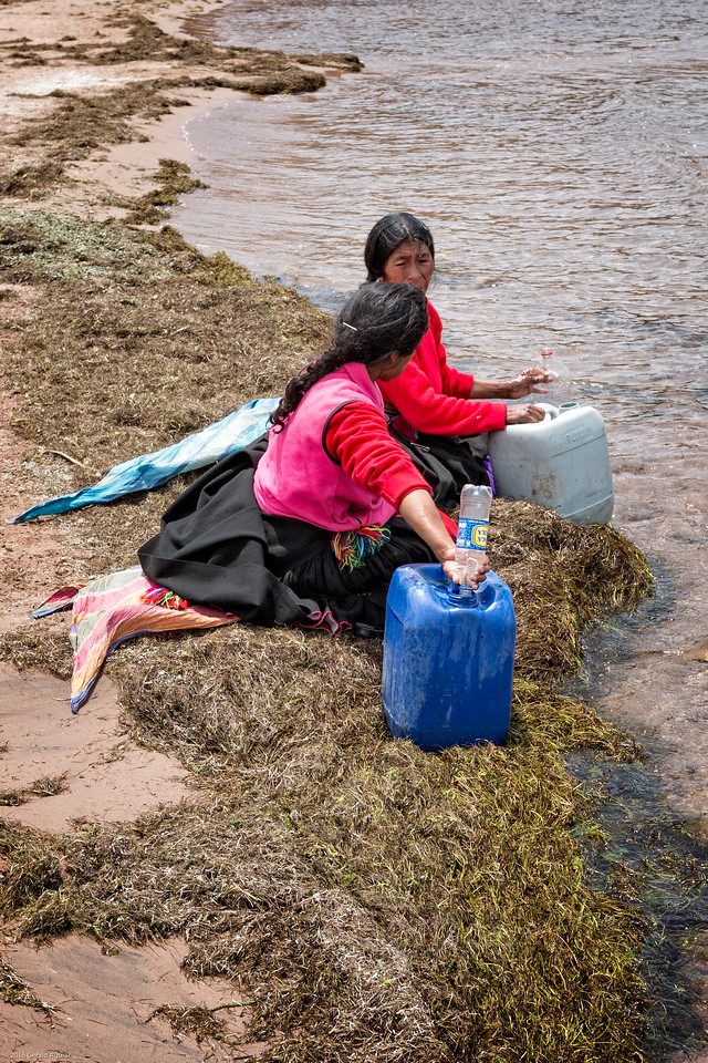 Gathering Water from Lake Titicaca at Taquile Island