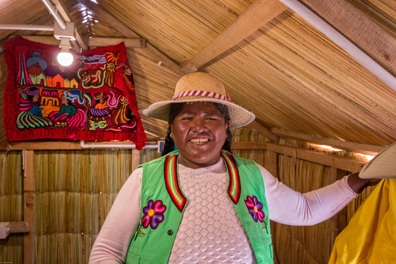 President Juana shows us her reed hut.