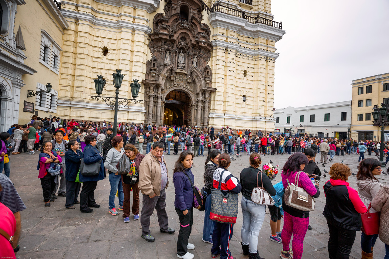 Crowd Outside Monastery of San Francisco in Lima
