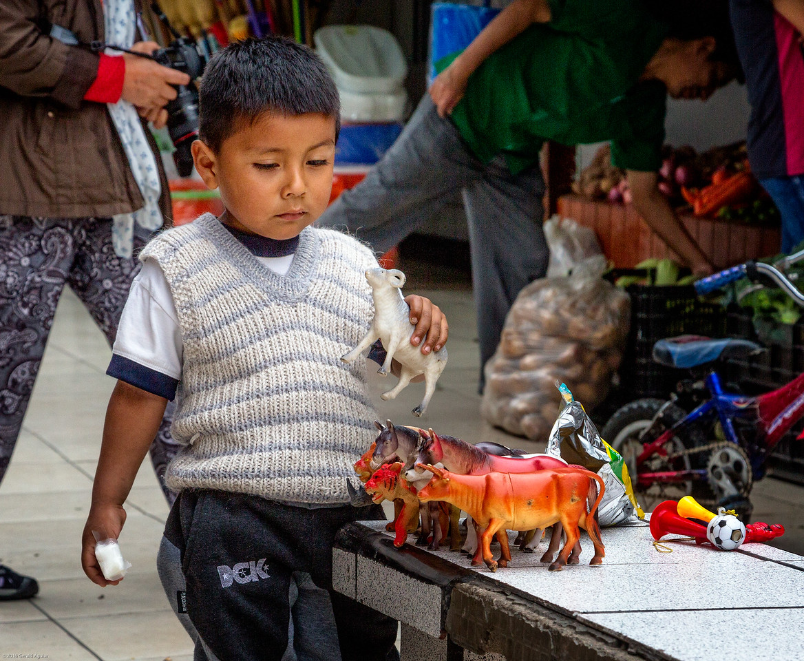 Toddler Enjoys Toys at Lima Open Air Market