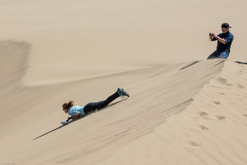 Debbie Sand Boarding Down the Dunes