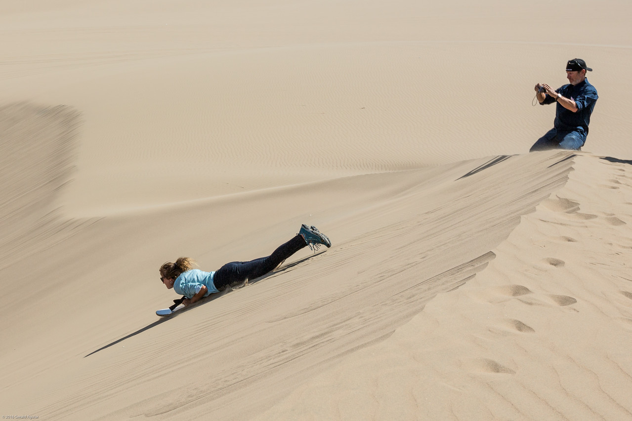 Debbie Sand Boarding Down the Dunes