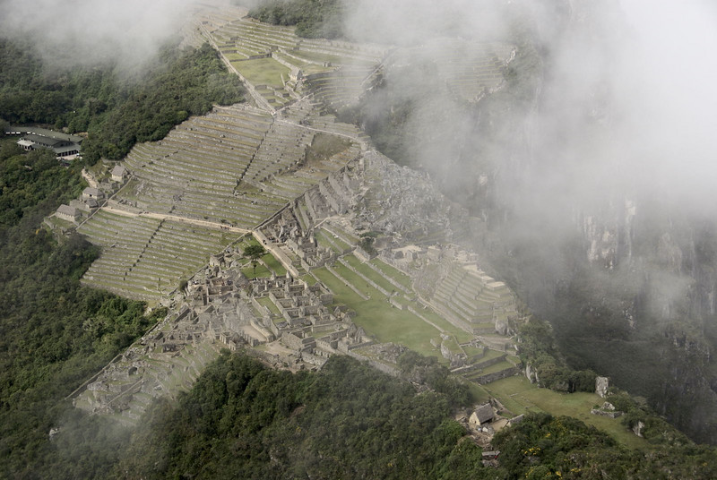 Machu Picchu, a view of the city at dawn from the summit of Huayna Picchu.