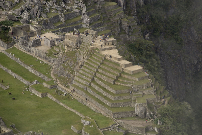 Machu Picchu, a view of the Intihuatana Pyramid; taken from the summit of Huayna Picchu.