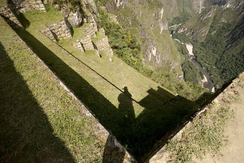 Machu Picchu, agricultural steps on the Western side, with the Rio Urubamba far below.