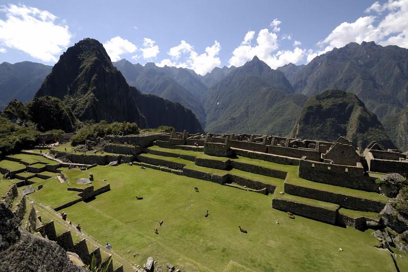 Machu Picchu, looking across the Plaza towards Huayna Picchu.