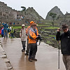 Rainy arrival at Machu Picchu