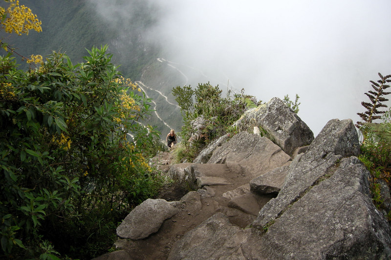 Machu Picchu, showing the steep climb high up on Huayna Picchu.