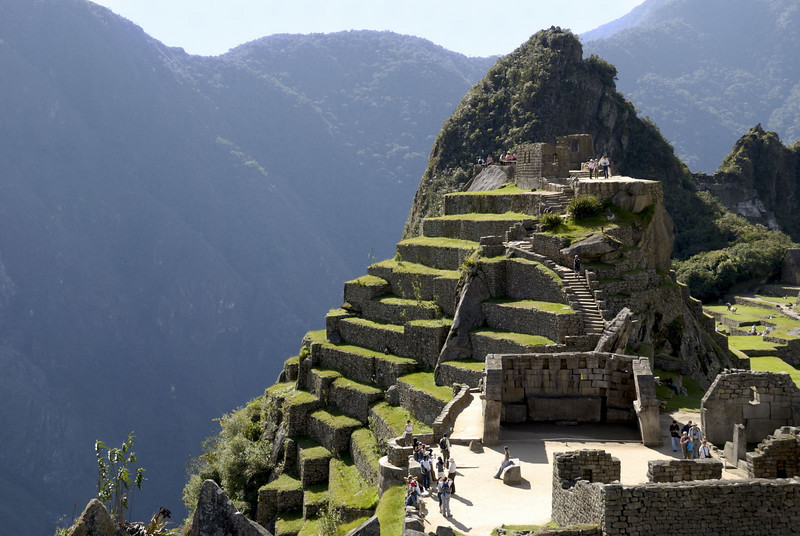 Machu Picchu, the Western Sector, looking towards the Sacred Plaza and the Intihuatana Pyramid.