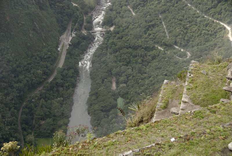 Machu Picchu, Inca steps, possibly for growing crops, just below the summit of Huayna Picchu.