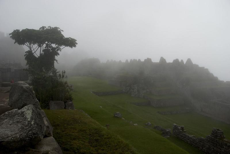 Machu Picchu, the Plaza in the dawn mist.