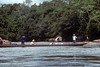 Dugout canoe on the Napo. These things are huge. Thats a 55 gallon drum. Its in the middle of the boat.
