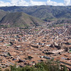 Aerial View of Cusco centre, Andes, Peru. Includes El Triunfo Cathedral