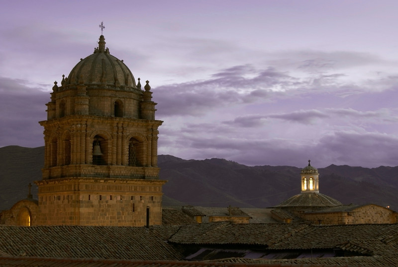 View of the old monastery bell tower taken from from Hotel Monasterio, Cusco, Peru