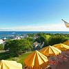View towards the Straits of Mackinac from Fort Mackinac and overlooking the restaurant at the fort.