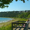 People enjoy the view along the Western side of Mackinac Island