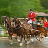 A surrey driver looks out as he heads out with Grand Hotel guests on a carriage ride around the island.