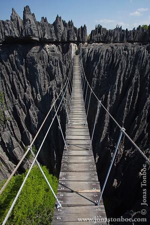 Tsingy de Bemaraha National Park: Tsingy - suspension bridge with safety wire