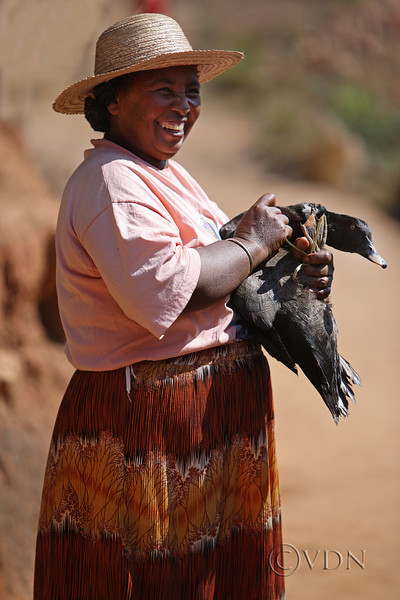 Some happy, some not ...<br /> Malagasi woman came to camp to sell the duck, Madagascar!