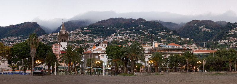 Capital of Madeira, Funchal. View from the beach in the central area.