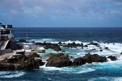 Porto Moniz swimming pools on a very windy day.