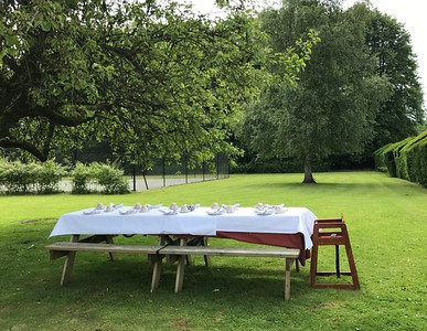 Our beautiful tea table on the green