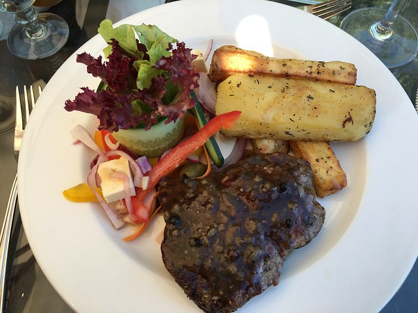 Eland steak and giant potato wedges! So tasty!