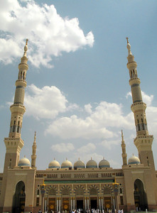 Main entrance to the Prohet's Mosque, Madinah.  This entrance is part of an extension to the mosque completed in the 90s.