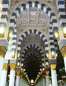 Arched arcades within the Prophet's mosque, Madinah.