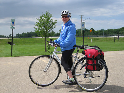 Lyn is ready to go. Saturday morning, Orangeville, Illinois, just off the Jane Addams Trail.