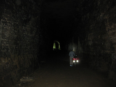 The 1,200 foot long tunnel on the Badger State Trail. This is a flash shot. There are no lights in the tunnel-- it's *dark*.