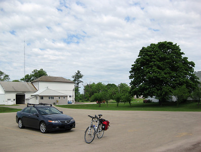Orangeville, Illinois, just off the Jane Addams Trail. We park the car and ride away.