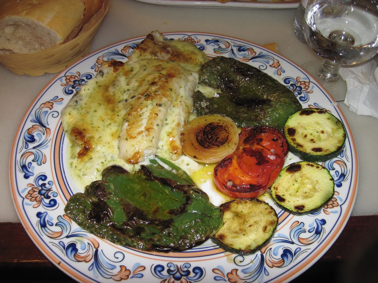 Grilled vegetables and fish for dinner.