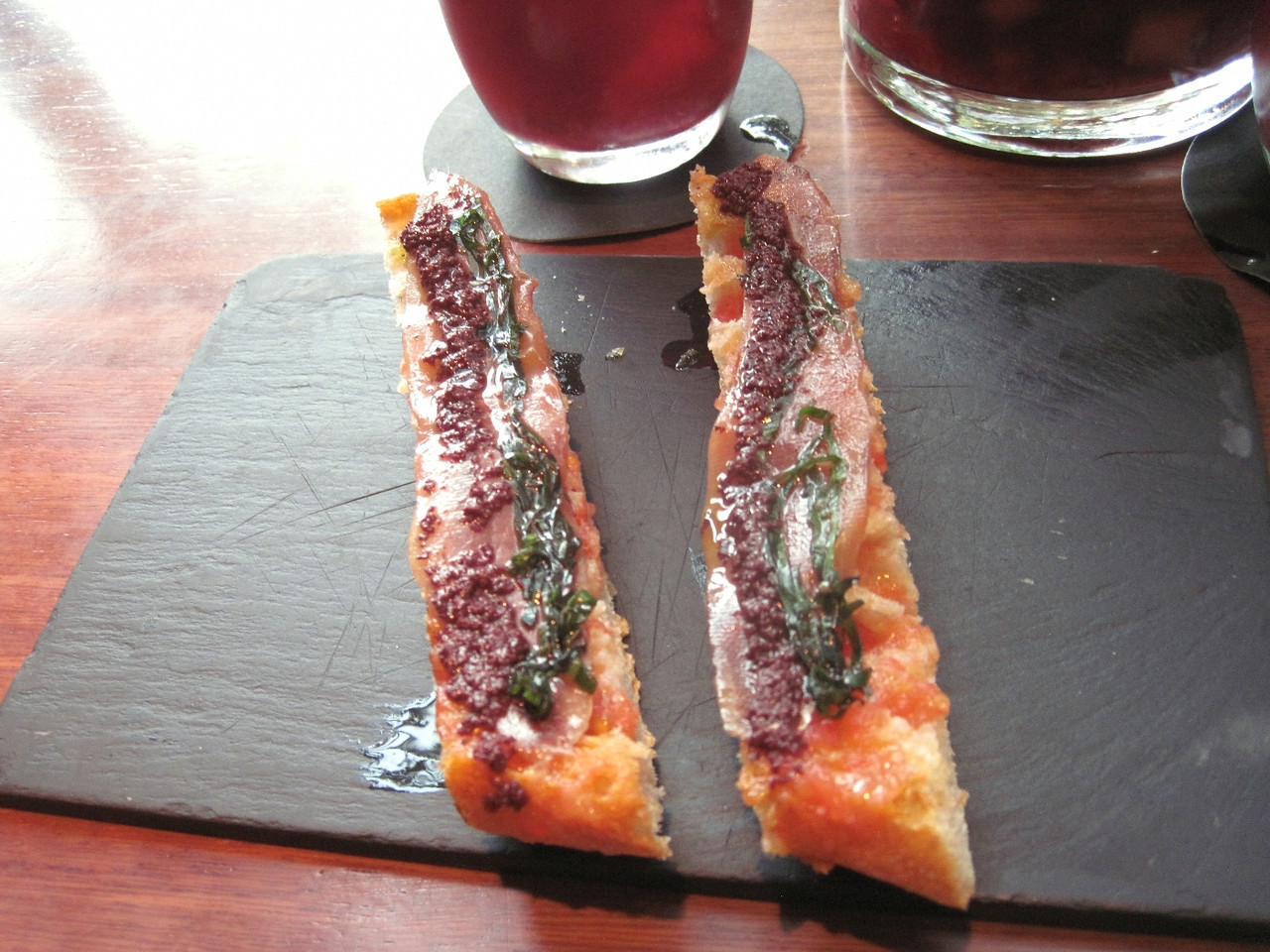I think this was Spanish ham on top of bread.