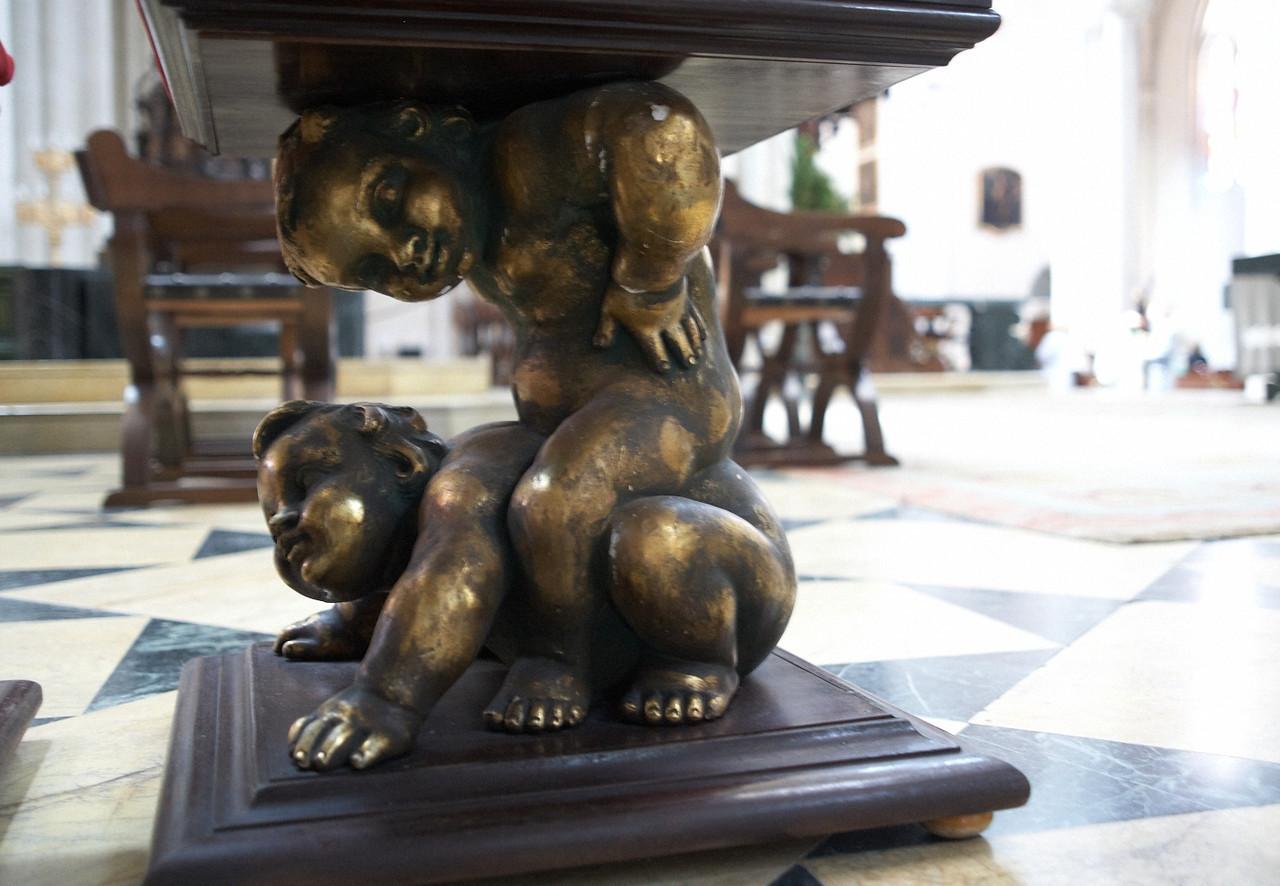This is a leg of a bench inside the Catedral de Nuestra Senora de la Almundena.